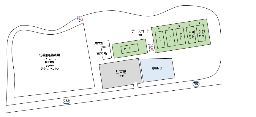 桜運動施設概略図 テニスのBonJin