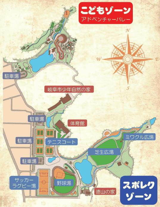 岐阜ファミリーパーク園内マップ テニスのBonJin