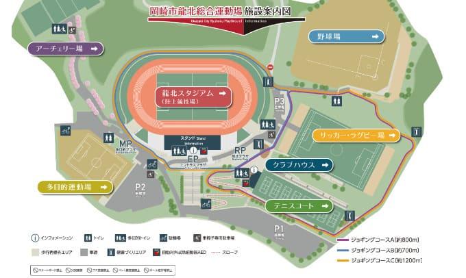 岡崎市龍北総合運動場案内図 テニスのBonJin